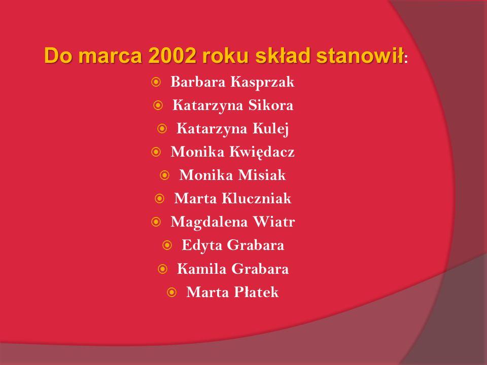 Do marca 2002 roku skład stanowił Do marca 2002 roku skład stanowił : Barbara Kasprzak Katarzyna Sikora Katarzyna Kulej Monika Kwi ę dacz Monika Misia