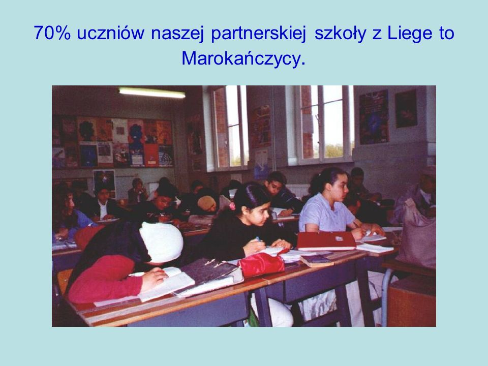 70% uczniów naszej partnerskiej szkoły z Liege to Marokańczycy.