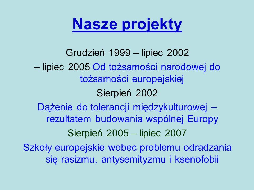 Nasze projekty Grudzień 1999 – lipiec 2002 – lipiec 2005 Od tożsamości narodowej do tożsamości europejskiej Sierpień 2002 Dążenie do tolerancji między