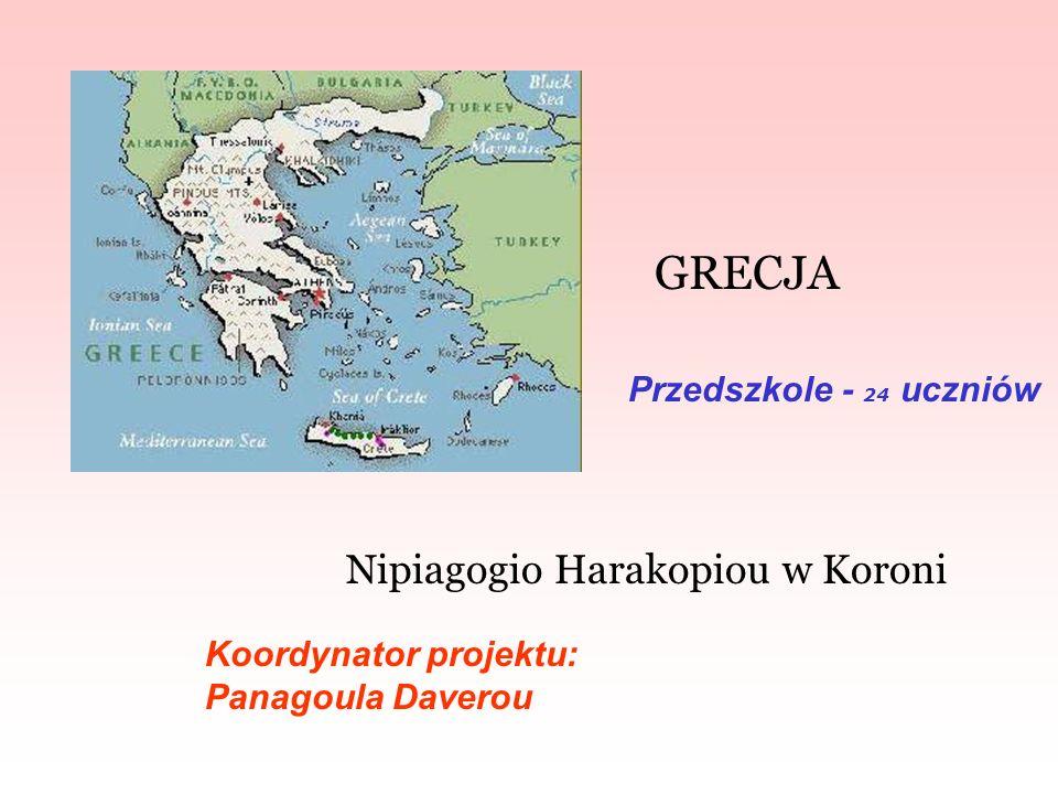 GRECJA Nipiagogio Harakopiou w Koroni Koordynator projektu: Panagoula Daverou Przedszkole - 24 uczniów