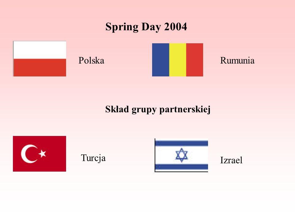 Spring Day 2004 Skład grupy partnerskiej PolskaRumunia Turcja Izrael