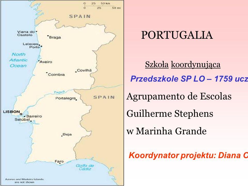 PORTUGALIA Szkoła koordynująca Agrupamento de Escolas Guilherme Stephens w Marinha Grande Koordynator projektu: Diana Oliveira Przedszkole SP LO – 1759 uczniów