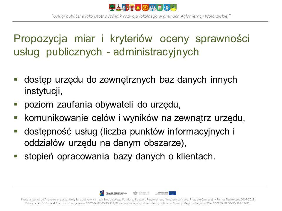 Usługi publiczne jako istotny czynnik rozwoju lokalnego w gminach Aglomeracji Wałbrzyskiej Propozycja miar i kryteriów oceny sprawności usług publicznych - administracyjnych dostęp urzędu do zewnętrznych baz danych innych instytucji, poziom zaufania obywateli do urzędu, komunikowanie celów i wyników na zewnątrz urzędu, dostępność usług (liczba punktów informacyjnych i oddziałów urzędu na danym obszarze), stopień opracowania bazy danych o klientach.