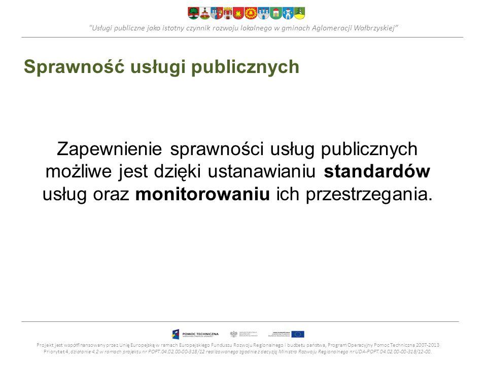 Usługi publiczne jako istotny czynnik rozwoju lokalnego w gminach Aglomeracji Wałbrzyskiej Standardy usług publicznych Na standard wykonywania usługi publicznej składają się dwa elementy: miernik – ilościowy aspekt wykonania danej usługi, który może być wykorzystany do oceny zdolności zaspokojenia danej potrzeby, cel – określający stopień realizacji w stosunku do danego miernika.