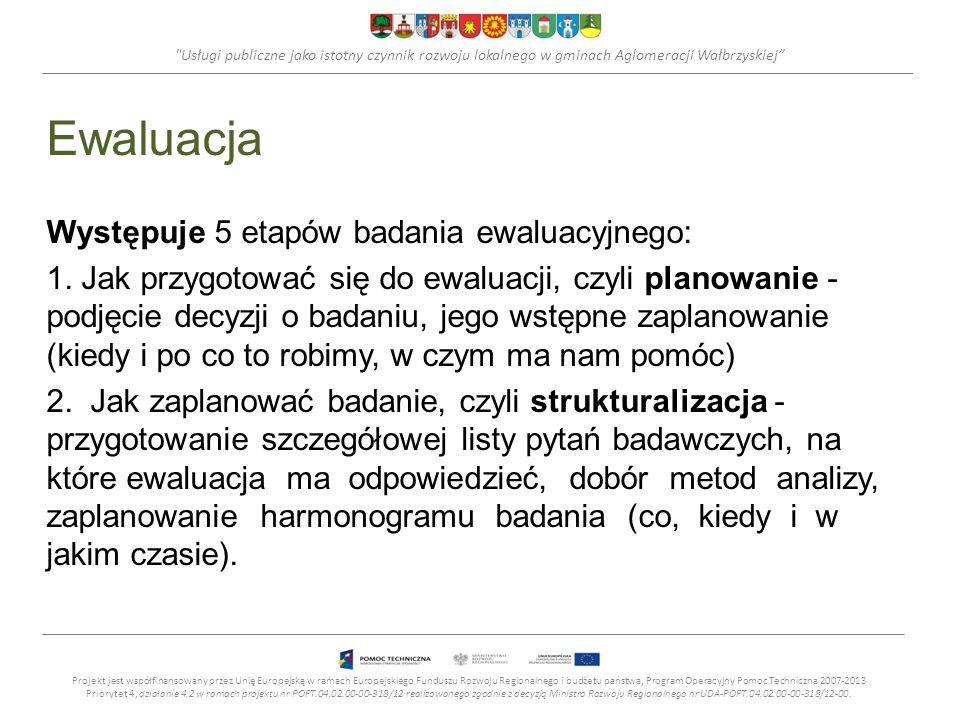 Usługi publiczne jako istotny czynnik rozwoju lokalnego w gminach Aglomeracji Wałbrzyskiej Ewaluacja Występuje 5 etapów badania ewaluacyjnego: 1.