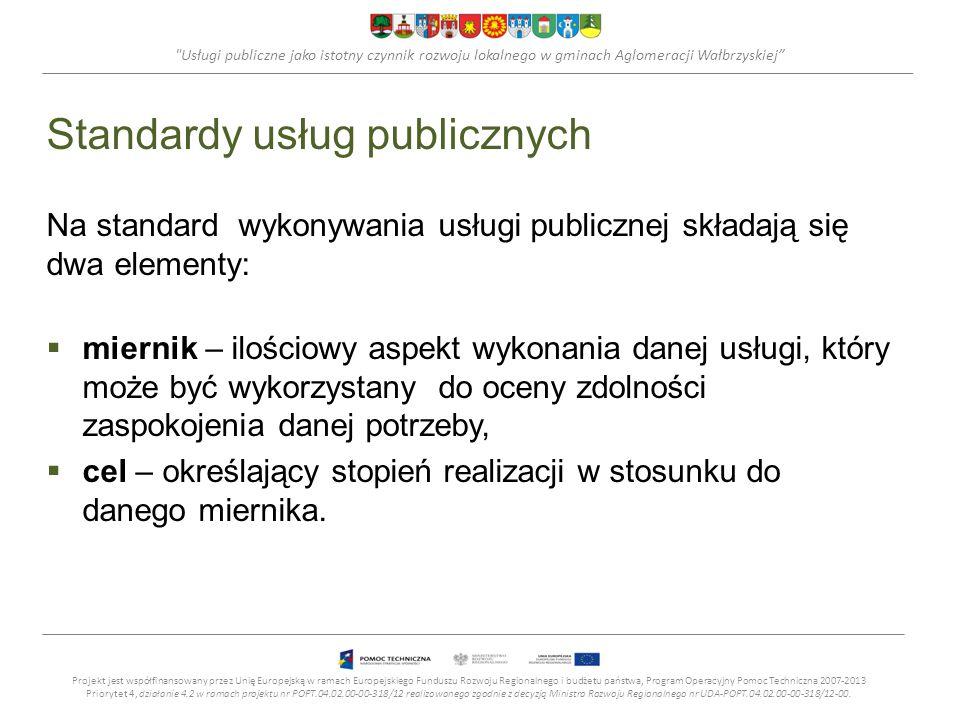 Usługi publiczne jako istotny czynnik rozwoju lokalnego w gminach Aglomeracji Wałbrzyskiej Mierniki oceny Przyjęte mierniki jakości usług publicznych powinny być: adekwatne do celów, jakie jednostka chce osiągnąć; ściśle określone, o klarownej, niedwuznacznej definicji, pozwalającej na konsekwentne pozyskiwanie danych; aktualne, generujące dane na tyle regularnie, by śledzić postępy, oraz na tyle szybko, by uzyskiwane dane były użyteczne; rzetelne, czyli wystarczająco dokładne i reagujące na zmiany.