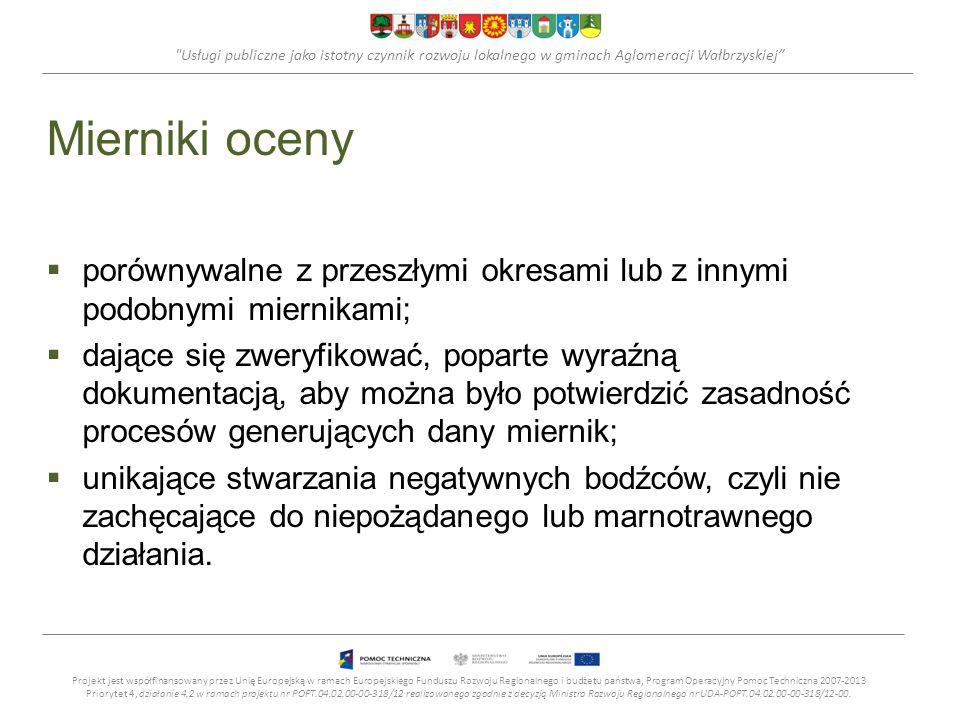 Usługi publiczne jako istotny czynnik rozwoju lokalnego w gminach Aglomeracji Wałbrzyskiej Mierniki oceny porównywalne z przeszłymi okresami lub z innymi podobnymi miernikami; dające się zweryfikować, poparte wyraźną dokumentacją, aby można było potwierdzić zasadność procesów generujących dany miernik; unikające stwarzania negatywnych bodźców, czyli nie zachęcające do niepożądanego lub marnotrawnego działania.