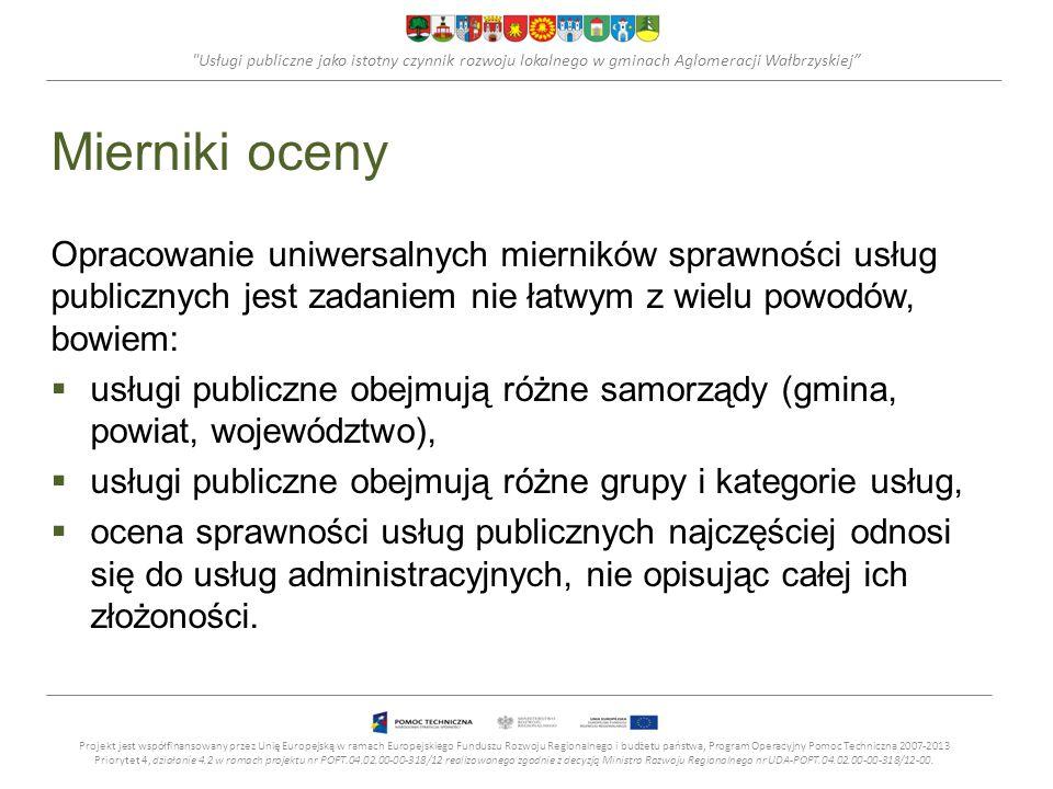 Usługi publiczne jako istotny czynnik rozwoju lokalnego w gminach Aglomeracji Wałbrzyskiej Mierniki oceny Opracowanie uniwersalnych mierników sprawności usług publicznych jest zadaniem nie łatwym z wielu powodów, bowiem: usługi publiczne obejmują różne samorządy (gmina, powiat, województwo), usługi publiczne obejmują różne grupy i kategorie usług, ocena sprawności usług publicznych najczęściej odnosi się do usług administracyjnych, nie opisując całej ich złożoności.
