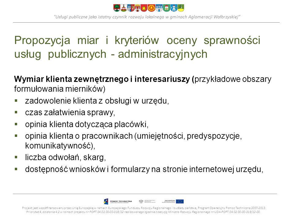 Usługi publiczne jako istotny czynnik rozwoju lokalnego w gminach Aglomeracji Wałbrzyskiej Propozycja miar i kryteriów oceny sprawności usług publicznych - administracyjnych Wymiar klienta zewnętrznego i interesariuszy (przykładowe obszary formułowania mierników) zadowolenie klienta z obsługi w urzędu, czas załatwienia sprawy, opinia klienta dotycząca placówki, opinia klienta o pracownikach (umiejętności, predyspozycje, komunikatywność), liczba odwołań, skarg, dostępność wniosków i formularzy na stronie internetowej urzędu, Projekt jest współfinansowany przez Unię Europejską w ramach Europejskiego Funduszu Rozwoju Regionalnego i budżetu państwa, Program Operacyjny Pomoc Techniczna 2007-2013 Priorytet 4, działanie 4.2 w ramach projektu nr POPT.04.02.00-00-318/12 realizowanego zgodnie z decyzją Ministra Rozwoju Regionalnego nr UDA-POPT.04.02.00-00-318/12-00.