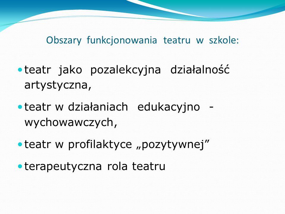 Obszary funkcjonowania teatru w szkole: teatr jako pozalekcyjna działalność artystyczna, teatr w działaniach edukacyjno - wychowawczych, teatr w profi