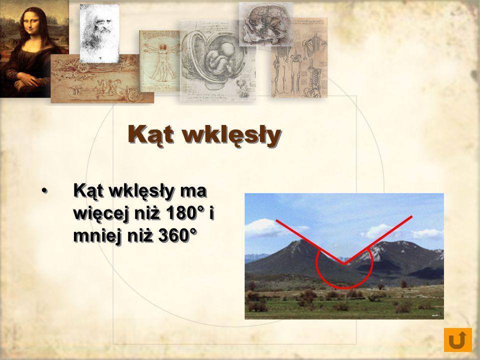 Kąt wklęsły Kąt wklęsły ma więcej niż 180° i mniej niż 360°