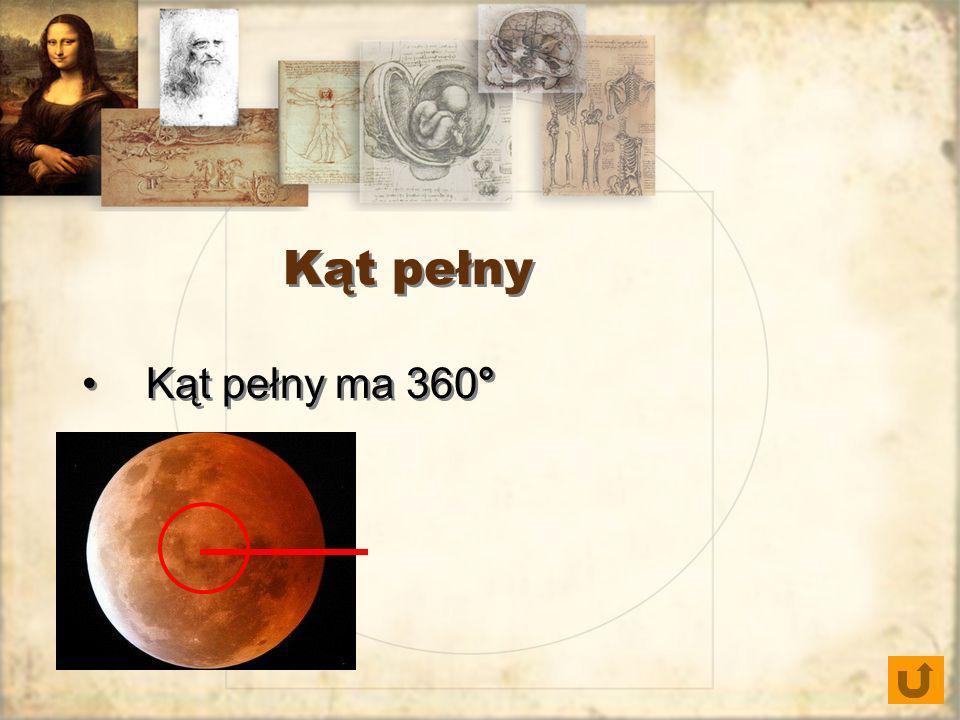 Kąt pełny Kąt pełny ma 360°