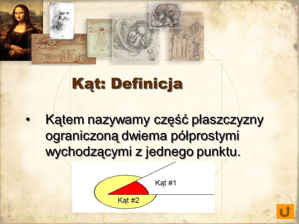 Kąt: Definicja Kątem nazywamy część płaszczyzny ograniczoną dwiema półprostymi wychodzącymi z jednego punktu. Kąt #1 Kąt #2