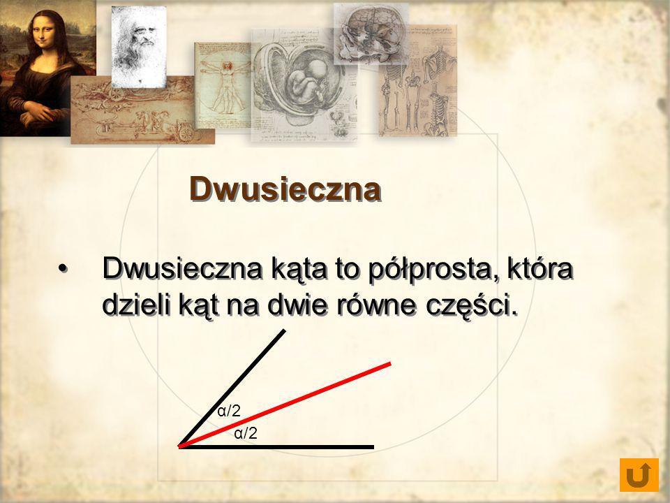 Dwusieczna Dwusieczna kąta to półprosta, która dzieli kąt na dwie równe części. α/2
