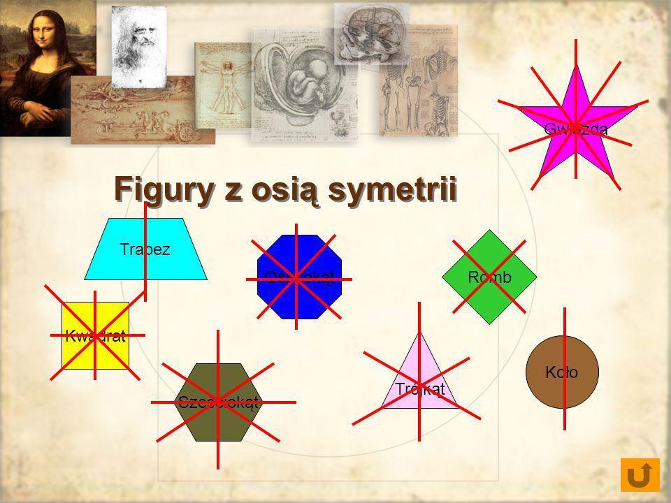 Romb Gwiazda Trójkąt Sześciokąt Ośmiokąt Kwadrat Figury z osią symetrii Trapez Koło