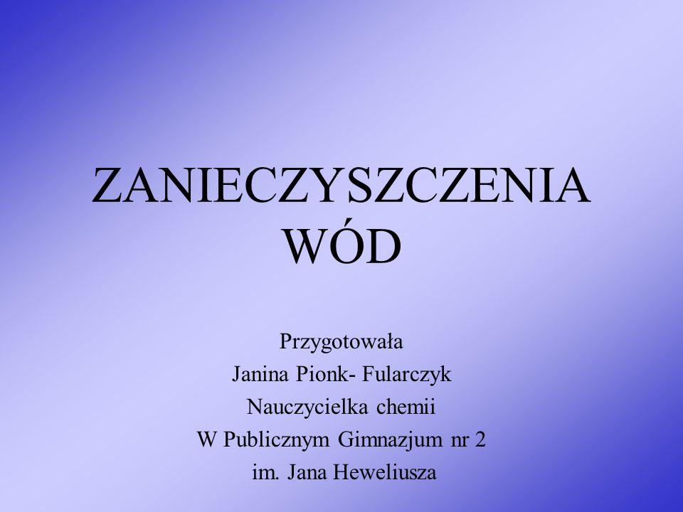 ZANIECZYSZCZENIA WÓD Przygotowała Janina Pionk- Fularczyk Nauczycielka chemii W Publicznym Gimnazjum nr 2 im. Jana Heweliusza