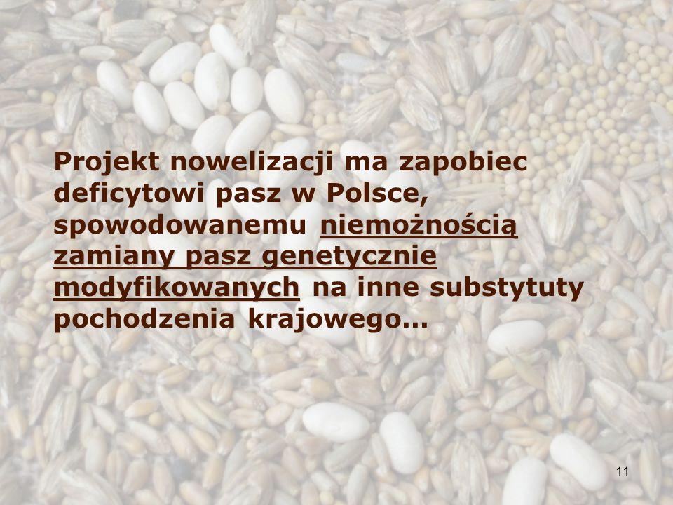 11 niemożnością zamiany pasz genetycznie modyfikowanych Projekt nowelizacji ma zapobiec deficytowi pasz w Polsce, spowodowanemu niemożnością zamiany pasz genetycznie modyfikowanych na inne substytuty pochodzenia krajowego...