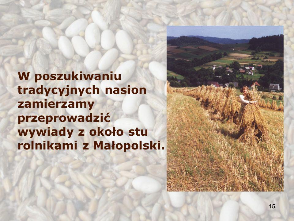 15 W poszukiwaniu tradycyjnych nasion zamierzamy przeprowadzić wywiady z około stu rolnikami z Małopolski.