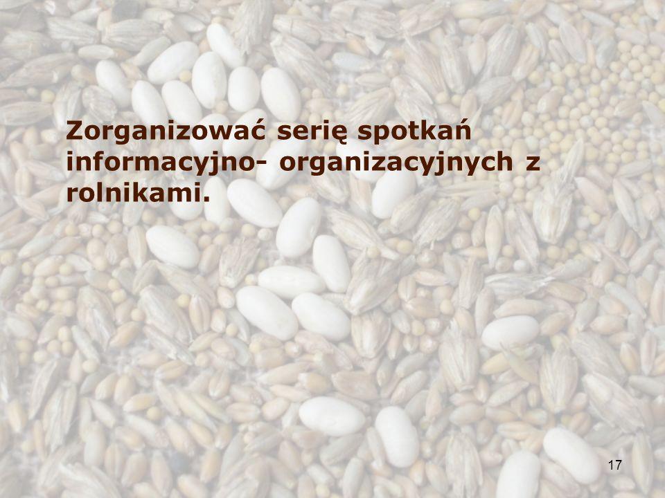 17 Zorganizować serię spotkań informacyjno- organizacyjnych z rolnikami.