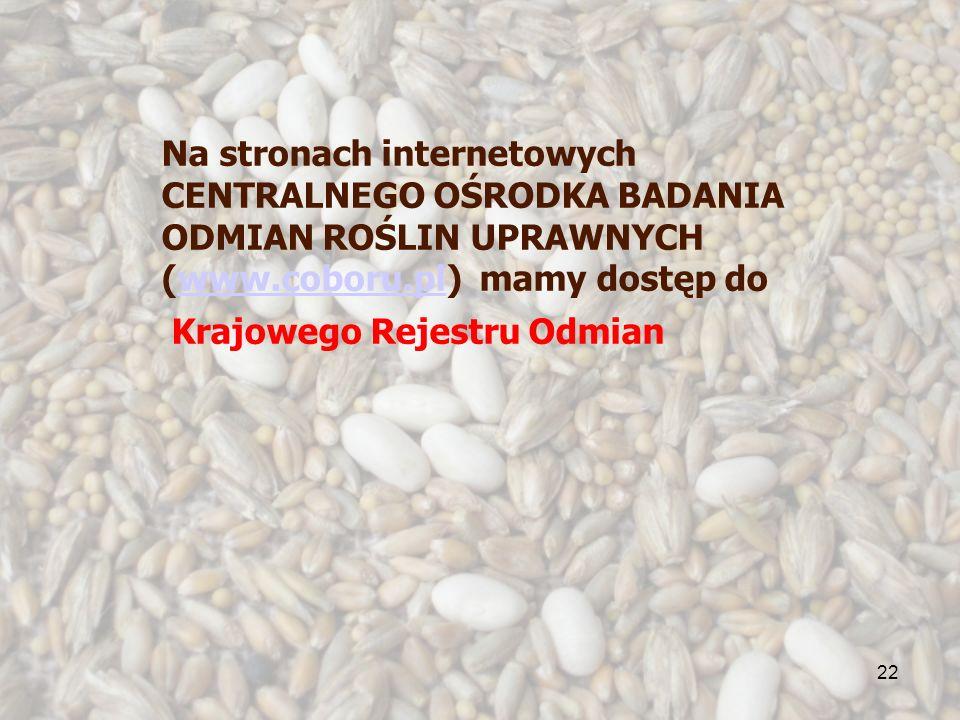 22 Na stronach internetowych CENTRALNEGO OŚRODKA BADANIA ODMIAN ROŚLIN UPRAWNYCH (www.coboru.pl) mamy dostęp dowww.coboru.pl Krajowego Rejestru Odmian
