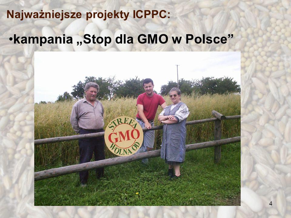 4 kampania Stop dla GMO w Polsce Najważniejsze projekty ICPPC: