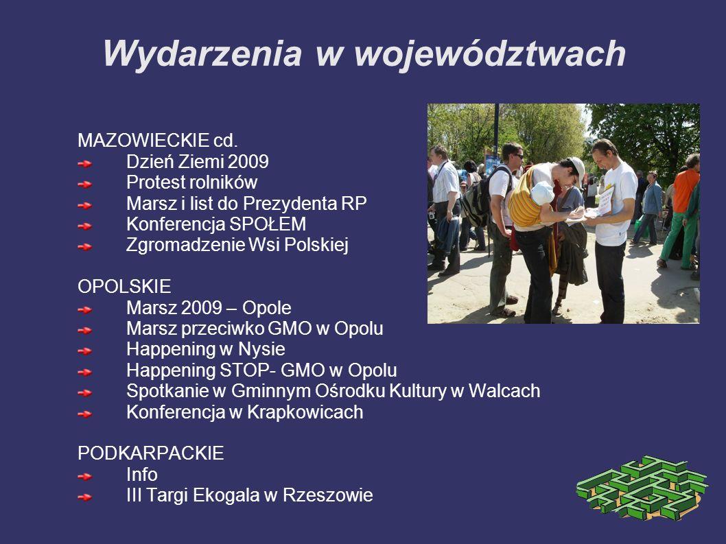 Wydarzenia w województwach MAZOWIECKIE cd. Dzień Ziemi 2009 Protest rolników Marsz i list do Prezydenta RP Konferencja SPOŁEM Zgromadzenie Wsi Polskie