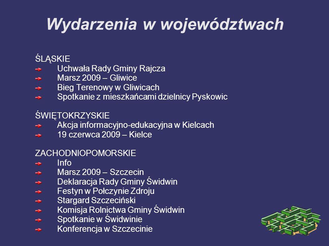 Wydarzenia w województwach ŚLĄSKIE Uchwała Rady Gminy Rajcza Marsz 2009 – Gliwice Bieg Terenowy w Gliwicach Spotkanie z mieszkańcami dzielnicy Pyskowi