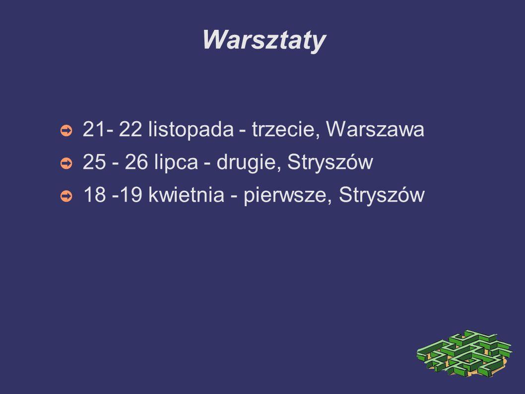 Warsztaty 21- 22 listopada - trzecie, Warszawa 25 - 26 lipca - drugie, Stryszów 18 -19 kwietnia - pierwsze, Stryszów