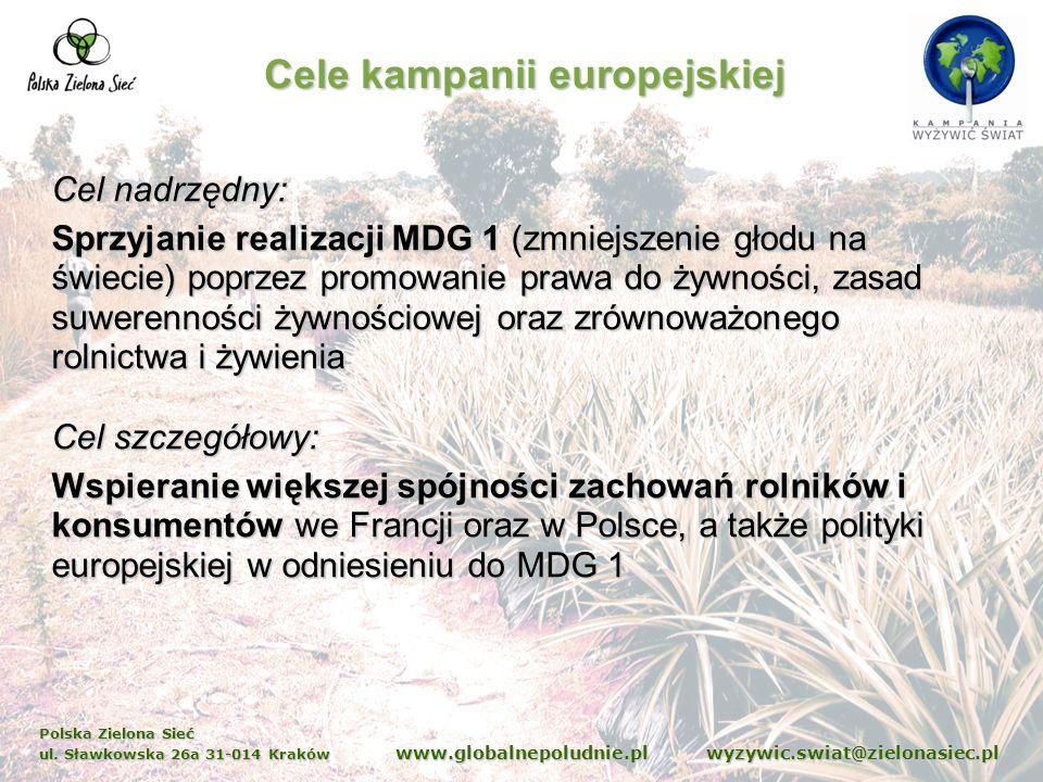 Polska Zielona Sieć ul. Sławkowska 26a 31-014 Kraków www.globalnepoludnie.pl wyzywic.swiat@zielonasiec.pl Cel nadrzędny: Sprzyjanie realizacji MDG 1 (