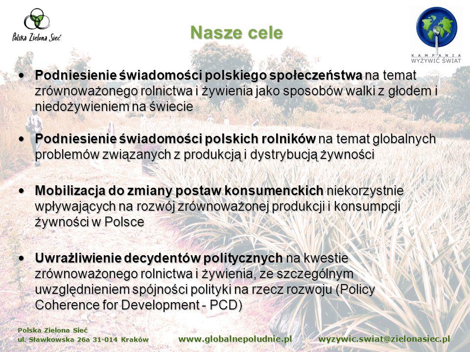 Polska Zielona Sieć ul. Sławkowska 26a 31-014 Kraków www.globalnepoludnie.pl wyzywic.swiat@zielonasiec.pl Nasze cele Podniesienie świadomości polskieg