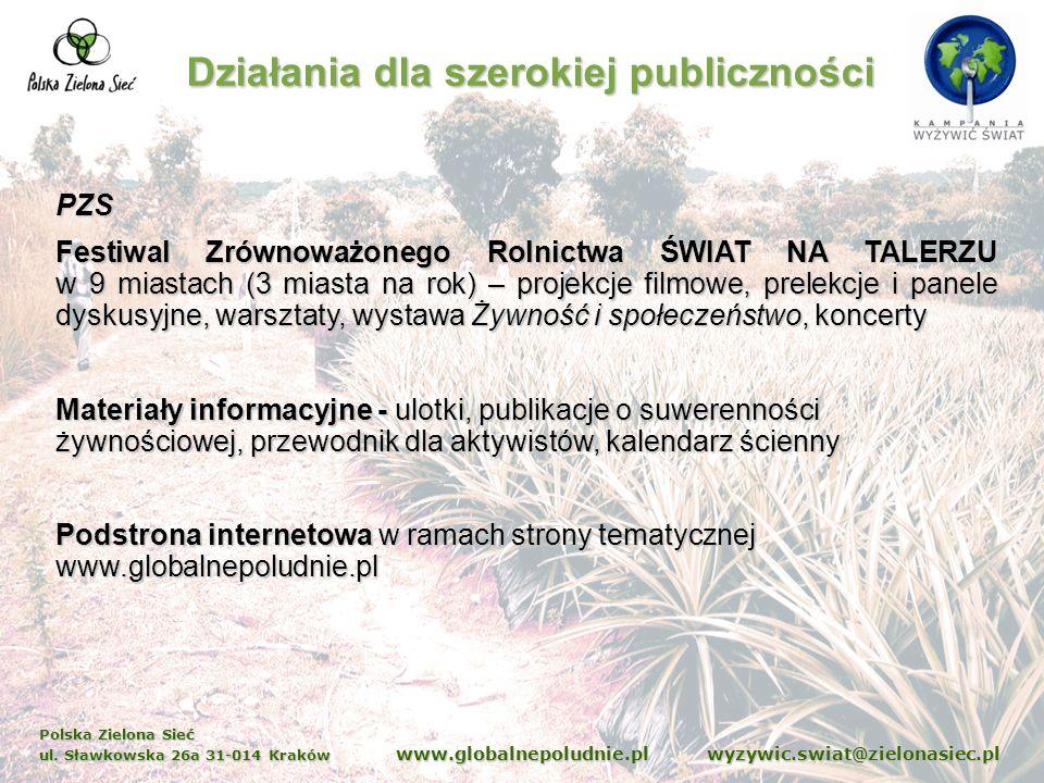Polska Zielona Sieć ul. Sławkowska 26a 31-014 Kraków www.globalnepoludnie.pl wyzywic.swiat@zielonasiec.pl Działania dla szerokiej publiczności PZS Fes