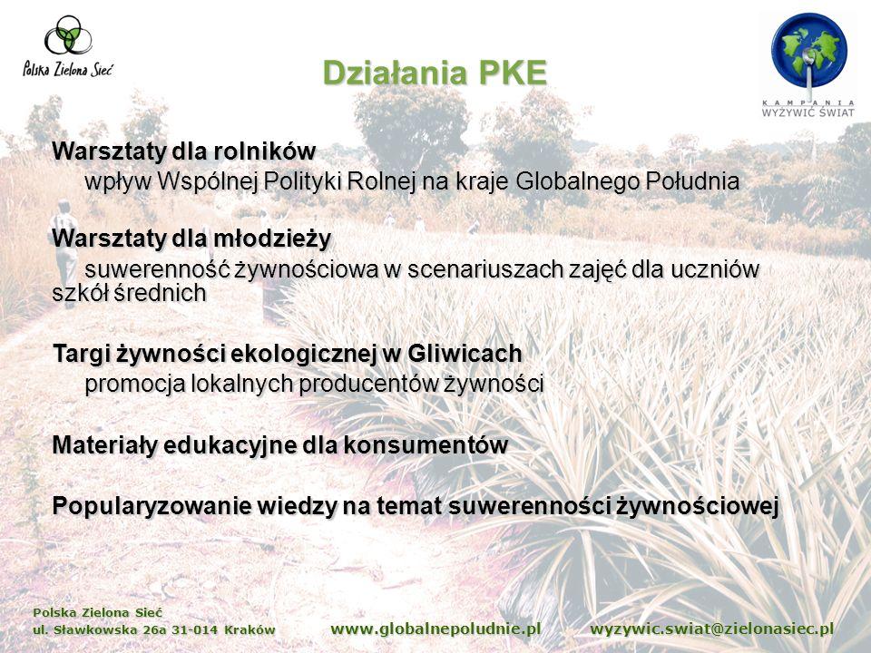 Polska Zielona Sieć ul. Sławkowska 26a 31-014 Kraków www.globalnepoludnie.pl wyzywic.swiat@zielonasiec.pl Działania PKE Warsztaty dla rolników wpływ W