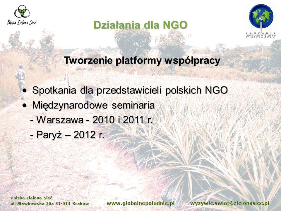 Polska Zielona Sieć ul. Sławkowska 26a 31-014 Kraków www.globalnepoludnie.pl wyzywic.swiat@zielonasiec.pl Działania dla NGO Tworzenie platformy współp