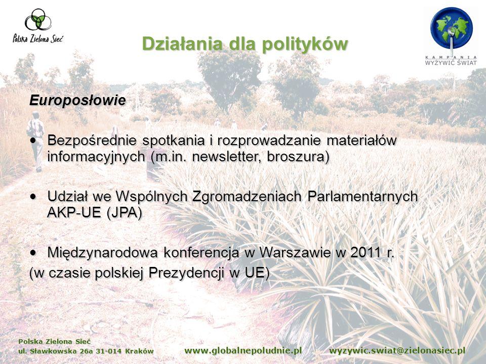 Polska Zielona Sieć ul. Sławkowska 26a 31-014 Kraków www.globalnepoludnie.pl wyzywic.swiat@zielonasiec.pl Działania dla polityków Europosłowie Bezpośr