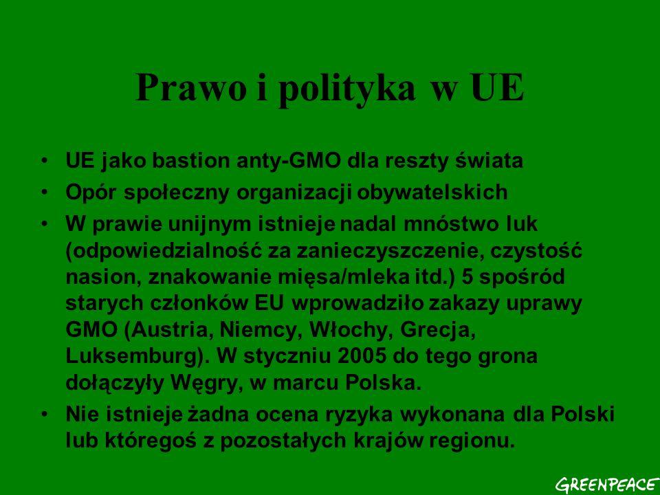 Prawo i polityka w UE UE jako bastion anty-GMO dla reszty świata Opór społeczny organizacji obywatelskich W prawie unijnym istnieje nadal mnóstwo luk (odpowiedzialność za zanieczyszczenie, czystość nasion, znakowanie mięsa/mleka itd.) 5 spośród starych członków EU wprowadziło zakazy uprawy GMO (Austria, Niemcy, Włochy, Grecja, Luksemburg).