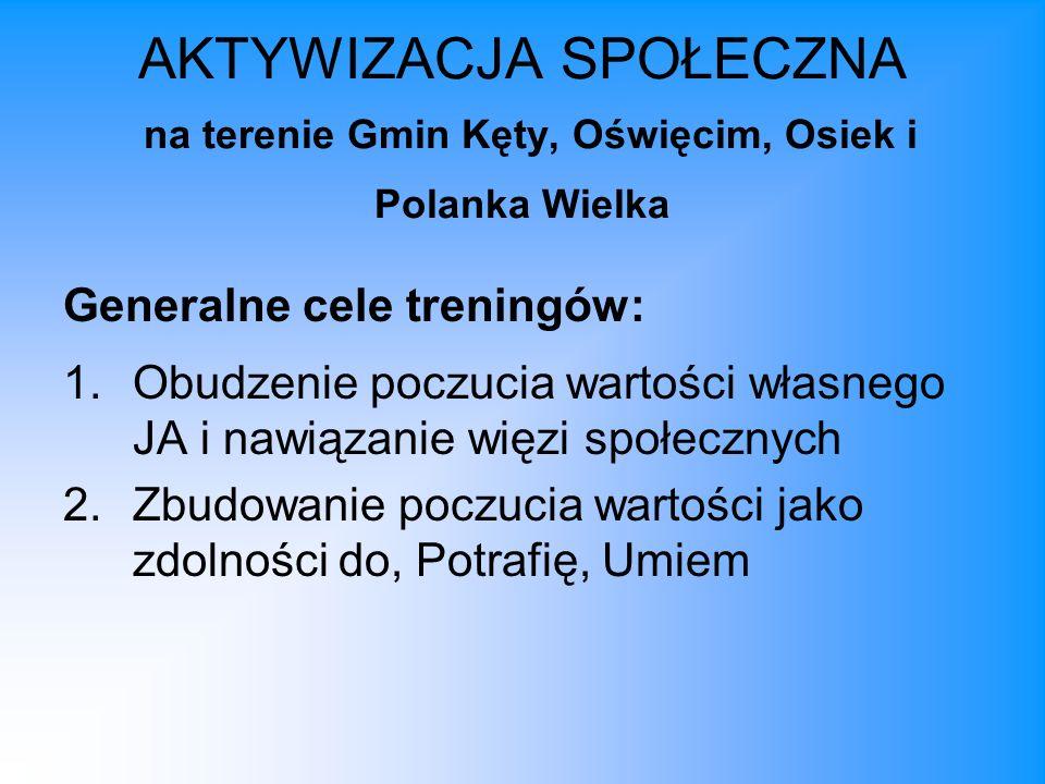 AKTYWIZACJA SPOŁECZNA na terenie Gmin Kęty, Oświęcim, Osiek i Polanka Wielka Generalne cele treningów: 1.Obudzenie poczucia wartości własnego JA i naw