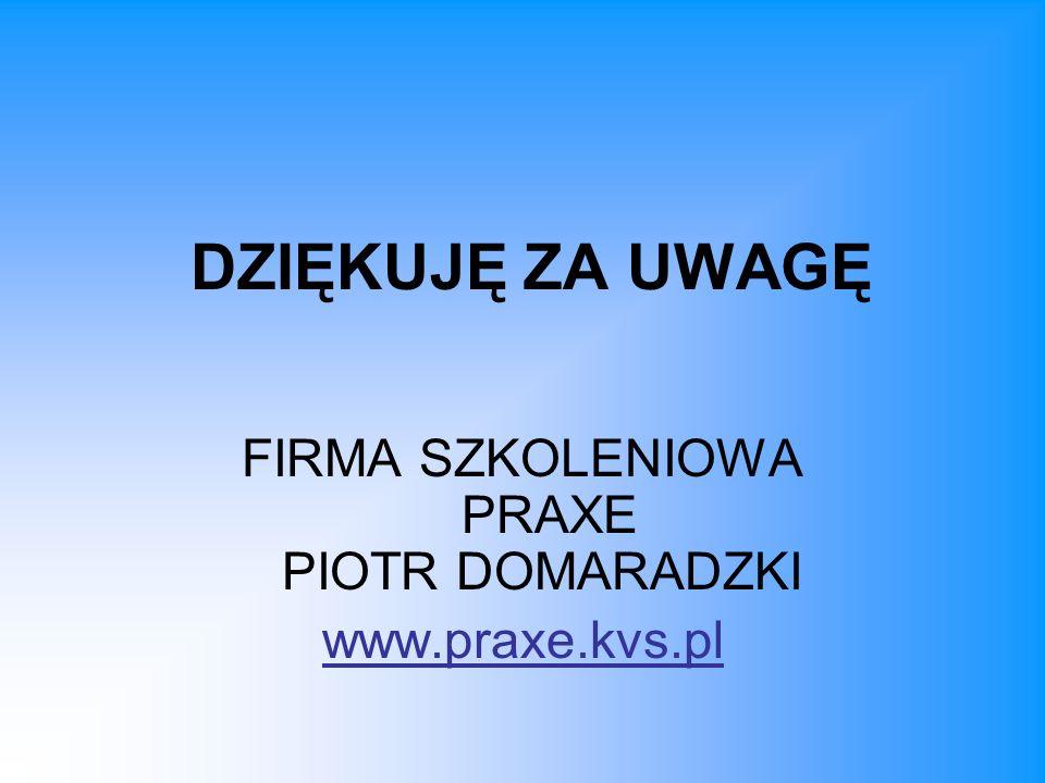 DZIĘKUJĘ ZA UWAGĘ FIRMA SZKOLENIOWA PRAXE PIOTR DOMARADZKI www.praxe.kvs.pl