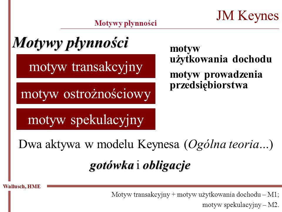 JM Keynes _____________________________________________________________________________________________ Motywy płynności Wallusch, HME Dwa aktywa w mo
