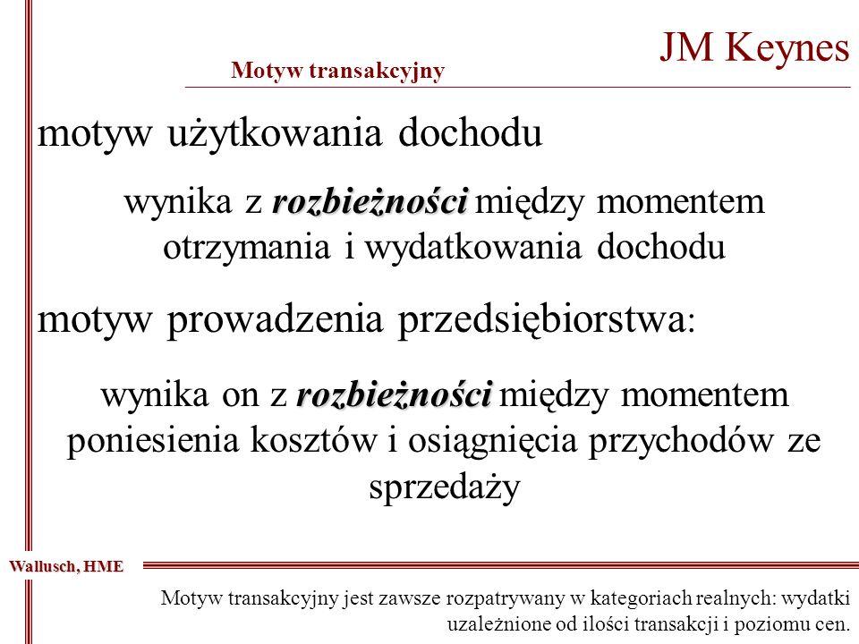 JM Keynes _____________________________________________________________________________________________ Motyw transakcyjny Wallusch, HME rozbieżności