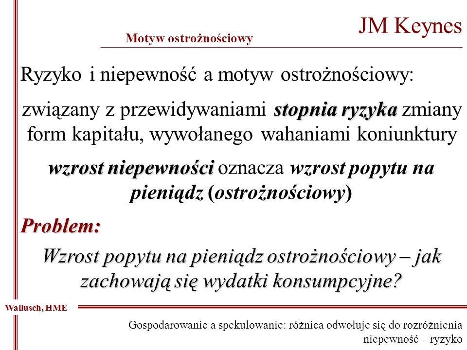 JM Keynes _____________________________________________________________________________________________ Motyw ostrożnościowy Wallusch, HME stopnia ryz