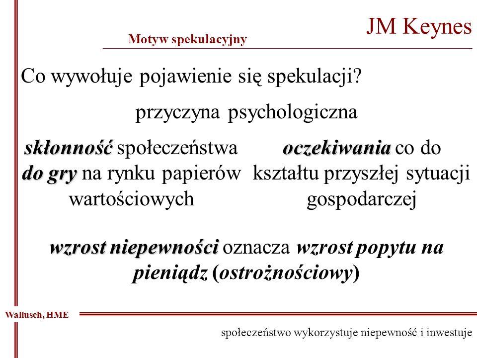 JM Keynes _____________________________________________________________________________________________ Motyw spekulacyjny Wallusch, HME przyczyna psy