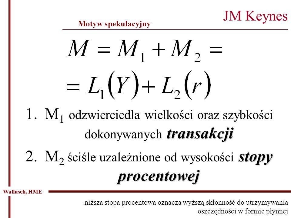 transakcji 1.M 1 odzwierciedla wielkości oraz szybkości dokonywanych transakcji stopy procentowej 2.M 2 ściśle uzależnione od wysokości stopy procento