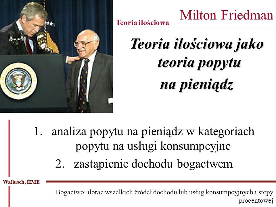 Milton Friedman _____________________________________________________________________ Teoria ilościowa Teoria ilościowa jako teoria popytu na pieniądz