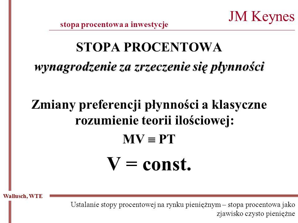 STOPA PROCENTOWA wynagrodzenie za zrzeczenie się płynności Zmiany preferencji płynności a klasyczne rozumienie teorii ilościowej: MV PT V = const. JM