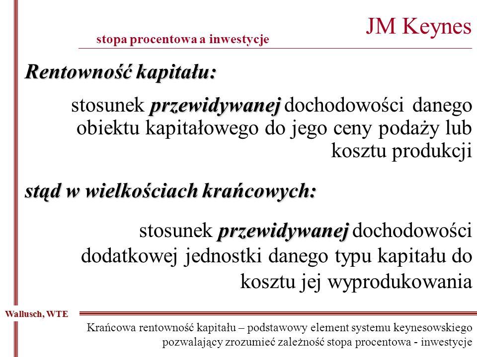 przewidywanej stosunek przewidywanej dochodowości danego obiektu kapitałowego do jego ceny podaży lub kosztu produkcji JM Keynes _____________________