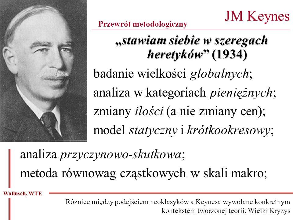 badanie wielkości globalnych; analiza w kategoriach pieniężnych; zmiany ilości (a nie zmiany cen); model statyczny i krótkookresowy; JM Keynes _______