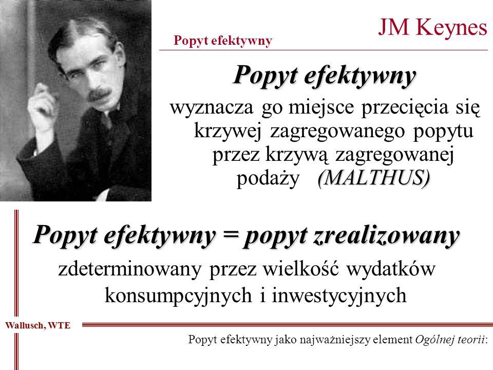 Popyt efektywny (MALTHUS) wyznacza go miejsce przecięcia się krzywej zagregowanego popytu przez krzywą zagregowanej podaży(MALTHUS) JM Keynes ________