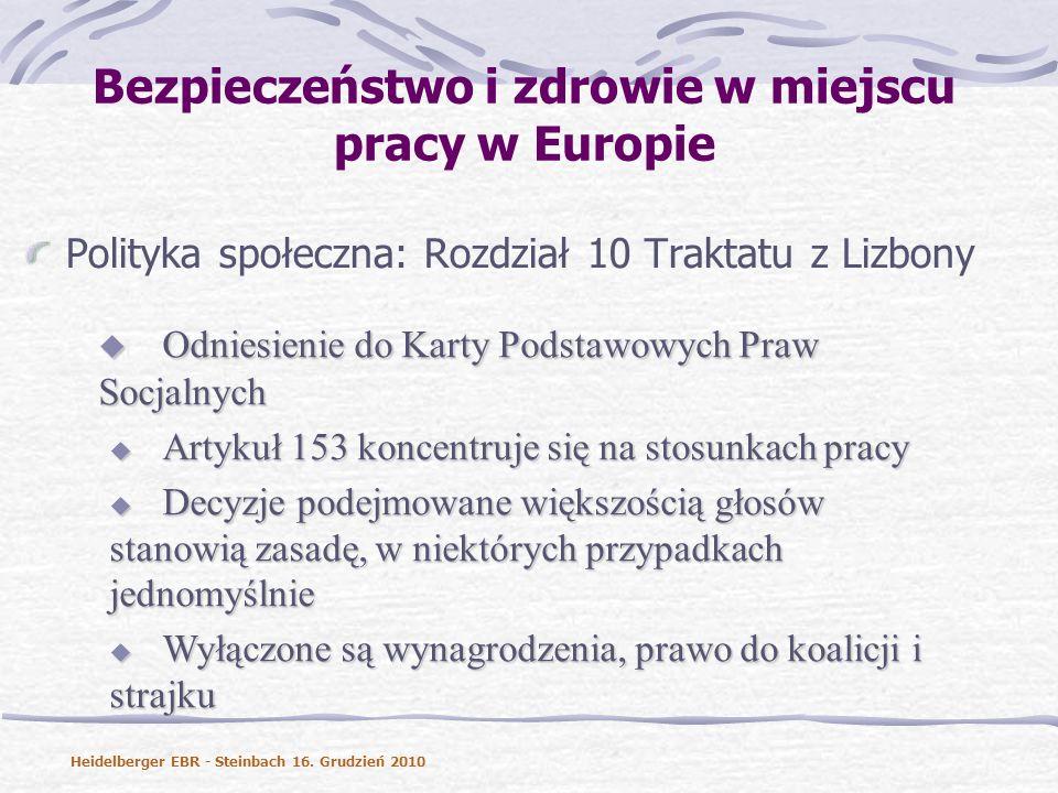 Bezpieczeństwo i zdrowie w miejscu pracy w Europie Polityka społeczna: Rozdział 10 Traktatu z Lizbony Odniesienie do Karty Podstawowych Praw Socjalnych Odniesienie do Karty Podstawowych Praw Socjalnych Artykuł 153 koncentruje się na stosunkach pracy Artykuł 153 koncentruje się na stosunkach pracy Decyzje podejmowane większością głosów stanowią zasadę, w niektórych przypadkach jednomyślnie Decyzje podejmowane większością głosów stanowią zasadę, w niektórych przypadkach jednomyślnie Wyłączone są wynagrodzenia, prawo do koalicji i strajku Wyłączone są wynagrodzenia, prawo do koalicji i strajku Heidelberger EBR - Steinbach 16.