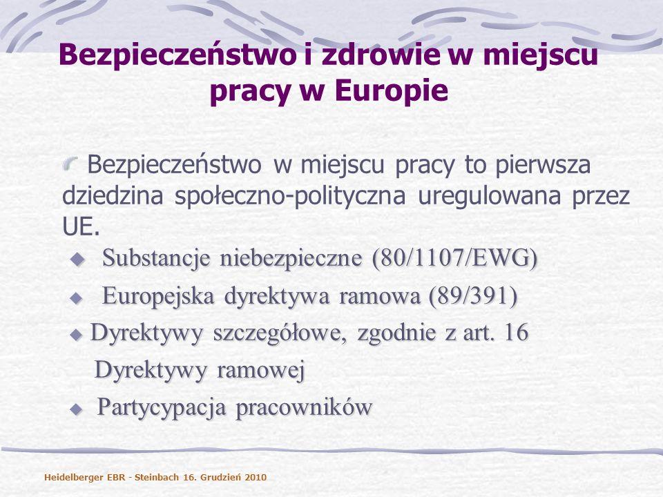 Bezpieczeństwo i zdrowie w miejscu pracy w Europie Bezpieczeństwo w miejscu pracy to pierwsza dziedzina społeczno-polityczna uregulowana przez UE.
