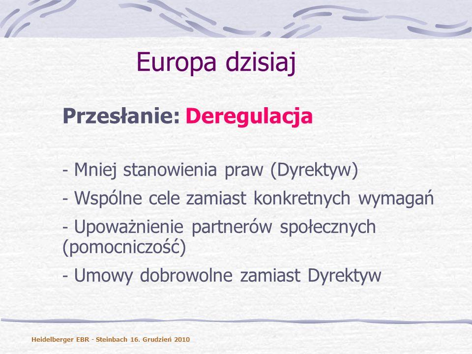 Europa dzisiaj Przesłanie: Deregulacja - Mniej stanowienia praw (Dyrektyw) - Wspólne cele zamiast konkretnych wymagań - Upoważnienie partnerów społecznych (pomocniczość) - Umowy dobrowolne zamiast Dyrektyw Heidelberger EBR - Steinbach 16.